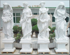 Four Seasons Marble Statues on Base