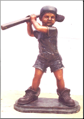 Boy Playing Baseball in Big Shoes, Bronze Statue