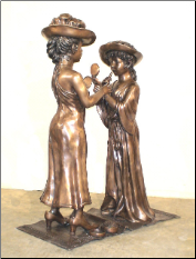2 Girls Playing Dress Up, Bronze Statue
