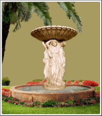 4 Seasons Maiden Marble Fountain w Copping Base