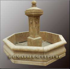 Limestone Octogon Base Fountain