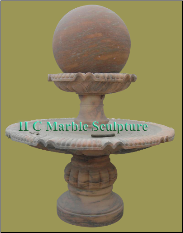 Sunset Red Marble 2 Tier Ball Fountain