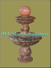Coffee Marble 2 Tier Sunset Red Ball Fountain