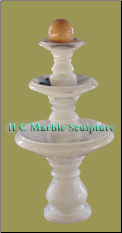 White Marble 3 Tier Sunset Red Ball Fountain