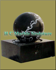 Black Marble Sphere Fountain On Square Base