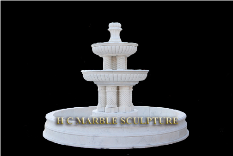 2 Tier Column White Marble Fountain
