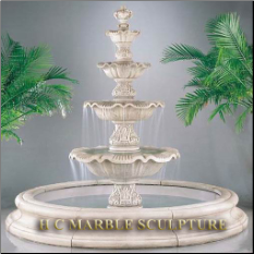 4 Tier White Marble Fountain