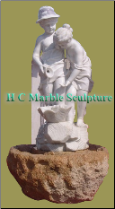 Boy and Girl with Jug, Self Contained Marble Fountain