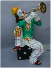 Bronze Clown Statue Sitting w/Trumpet