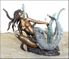 Bronze Mermaid w/ Dolphin Table Base