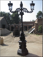 Lion Street Lamp w/ 2 Lights
