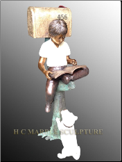 Boy sitting on tree trunk w/dog bronze mailbox custom colors (3)