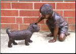 Bronze Sculpture Boy with Dog