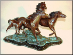 Bronze Sculpture 3 Wild Mustangs and Colt