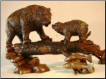 Bear Family on Log Bronze Statue