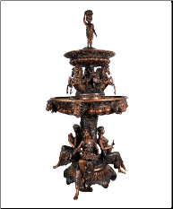 3 Tier Bronze Musical maidens, & horse fountain