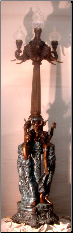 Incredible Ladies w/ Elephants Tall Bronze Lamp