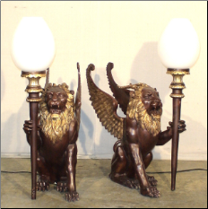Bronze Winged Lion Lamp