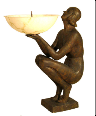 Art Deco Seated Lady Lamp w/ Poly Shade