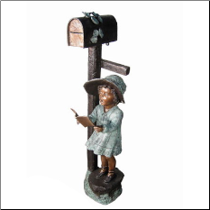 Girl Reading Book Mailbox, Bronze Sculpture