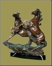 Bronze Small Sculpture 2 Rearing Horses on Marble Base
