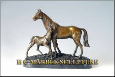 Bronze Small Sculpture Horse and Colt