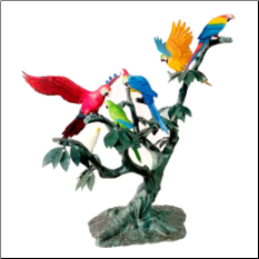 Bronze Multicolored Parrots in a Tree