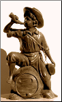 Boy on Barrel Blow Horn Bronze Statue