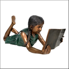 Bronze Statue Lying Girl Reading Book