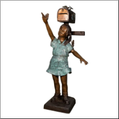 Bronze Girl with Butterflies Mailbox