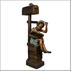 Bronze Girl Reading Book Mailbox Sculpture