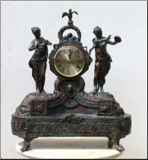 Bronze Sculpture Ladies with Clock, Mantle Clock