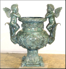 Two Cupid Bronze Urn in Green Patina