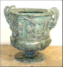 Bronze Grape Vine Urn Green Patina