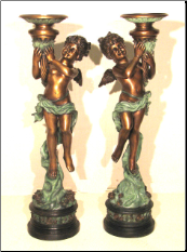 Bronze Girl Angel Candle Holders