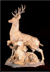 Marble Sculpture Deer Family