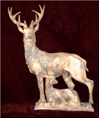 Marble Male Deer with Doe