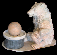 Bear w Ball Marble Fountain, Pink
