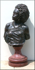 African Woman Bronze & Marble Bust