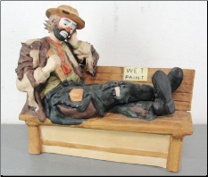 Clown Sitting on Bench Fiberglass Statue