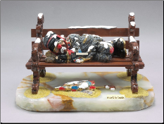 Clown Hobo Lying on Bench w/ Marble Base
