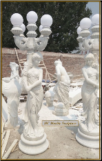 Five Globe Candelabra Lifesize White Statue Lamp