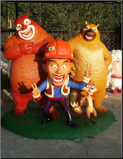 Fun Bears, Fireman Cat_Resin Statues face Left