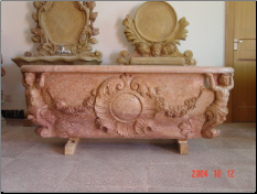 Marble Bathtub/Hand Carved Sunset Red Marble