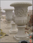 Marble Urn W/ Faces Handles