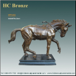 Decorative Bronze Statue of Prancing Horse on marble base.