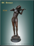 Decorative Bronze Statue of Girl Playing a Fiddle on marble base.