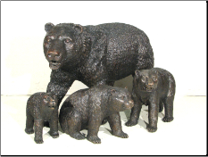 Bear Family Bronze Statues