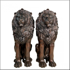 Bronze Pair of Sitting Lions