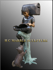 Boy & Dog sitting on tree stump Mailbox, Bronze Sculpture